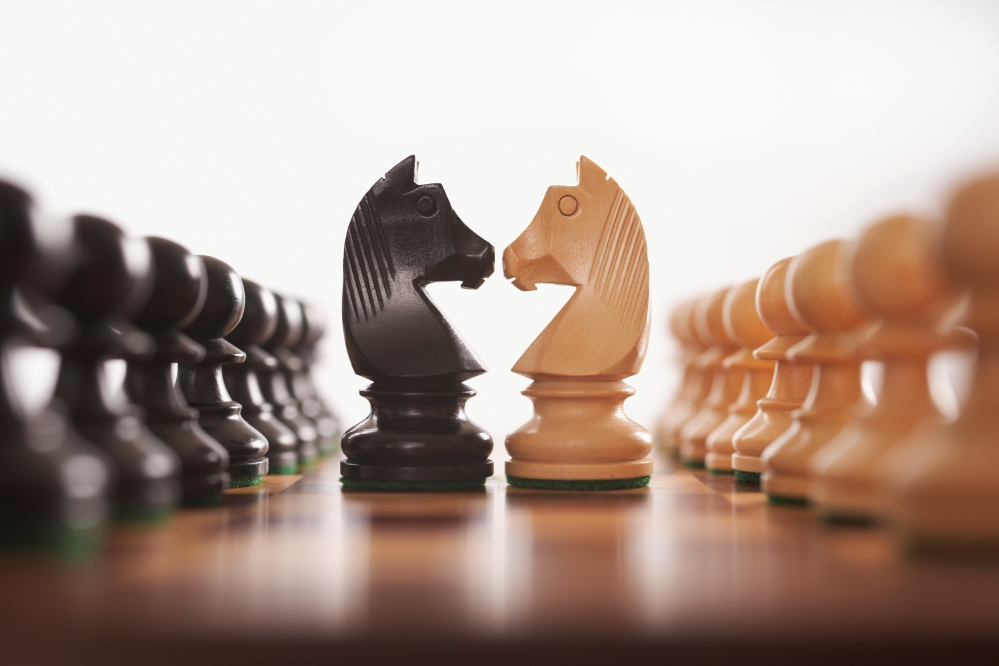 chess two rows of pawns with knight challenge centre